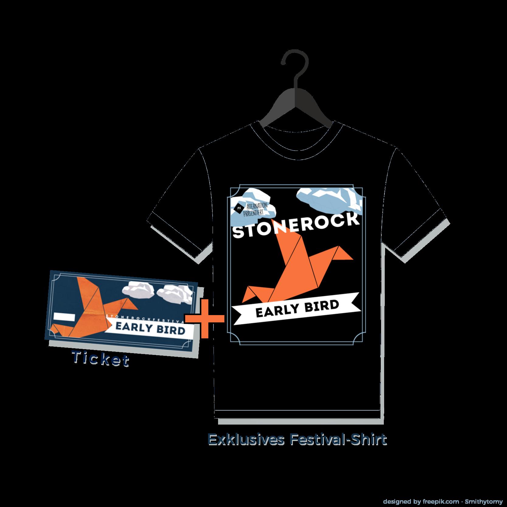 Early Bird Ticket und Shirt